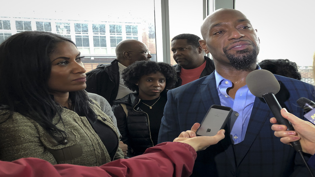 Huwe Burton speaks with reporters at the Bronx County Hall of Justice on Thursday, January 24, 2019, after his conviction was dismissed in the 1989 killing of his mother. (AP Photo/Jennifer Peltz)