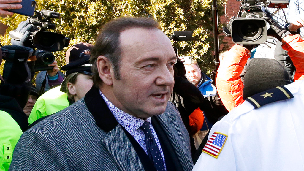 Actor Kevin Spacey departs from district court on Monday, Jan. 7, 2019, in Nantucket, Mass., after he was arraigned on a charge of indecent assault and battery. The Oscar-winning actor is accused of groping the teenage son of a former Boston TV anchor in 2016 in the crowded bar at the Club Car in Nantucket. (AP Photo/Steven Senne)