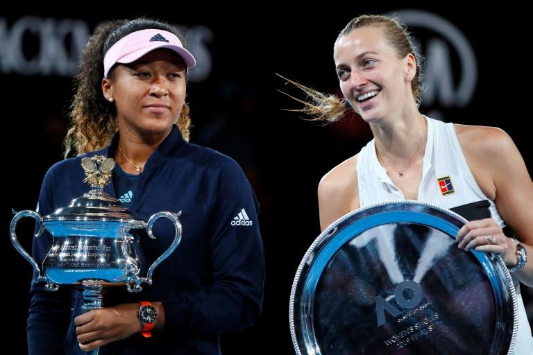 La Japonaise Naomi Osaka victorieuse en finale de l'Open d'Australie face à la Tchèque Petra Kvitova, à Melbourne, le 26 janvier 2019