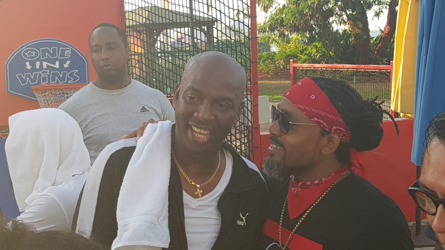 (L-R) Iwer George and Dr. Machel Montano