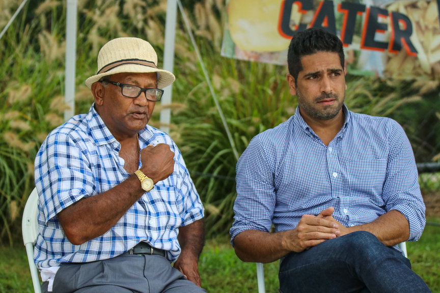 Alvin Kallicharran (left) takes in the match with ICC Americas tournament director Zubin Surkari (right), Belize v Canada, ICC World Twenty20 Americas Sub Regional Qualifier A, Morrisville, September 20, 2018. ©Peter Della Penna