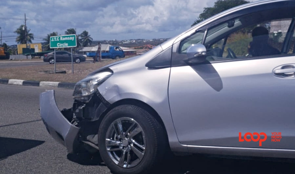Car involved in accident at the J.T.C Ramsay roundabout.