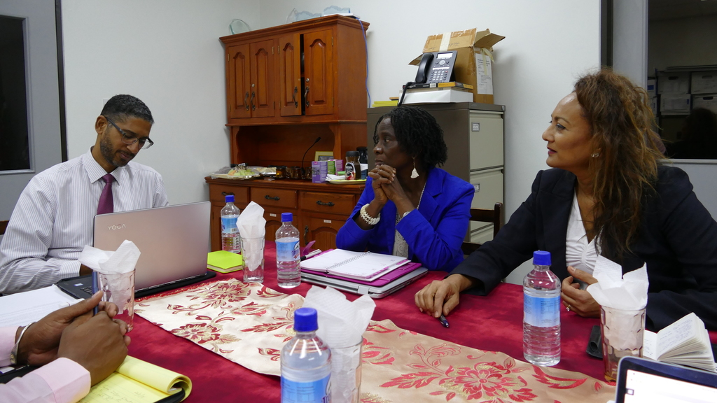 Managing Director of Tourism Intelligence International, Dr. Auliana Poon (right) at a working session with Colin Piper, Chief Executive Officer of Discover Dominica Authority, the tourism marketing agency for Dominica