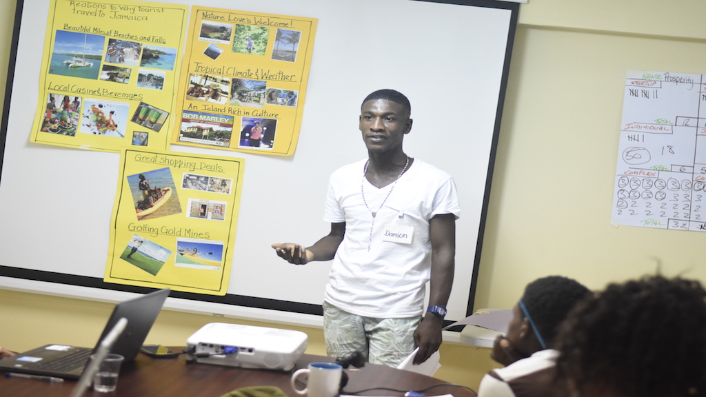 A Premier Tourism Training consultant conducts a class at the Denham Town Community Centre. (PHOTOS: Marlon Reid)