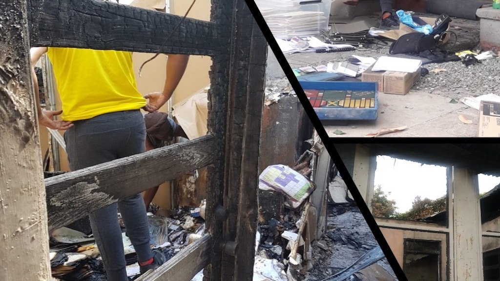 The J-Flag office in St Andrew was gutted by fire late last year. (PHOTO: J-Flag GoFundMe)