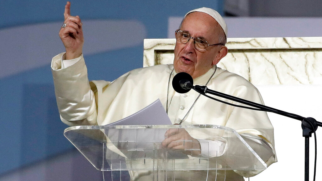 Pope Francis delivers his speech during a vigil at Campo San Juan Pablo II in Panama City, Saturday, Jan. 26, 2019. (AP Photo/Alessandra Tarantino)