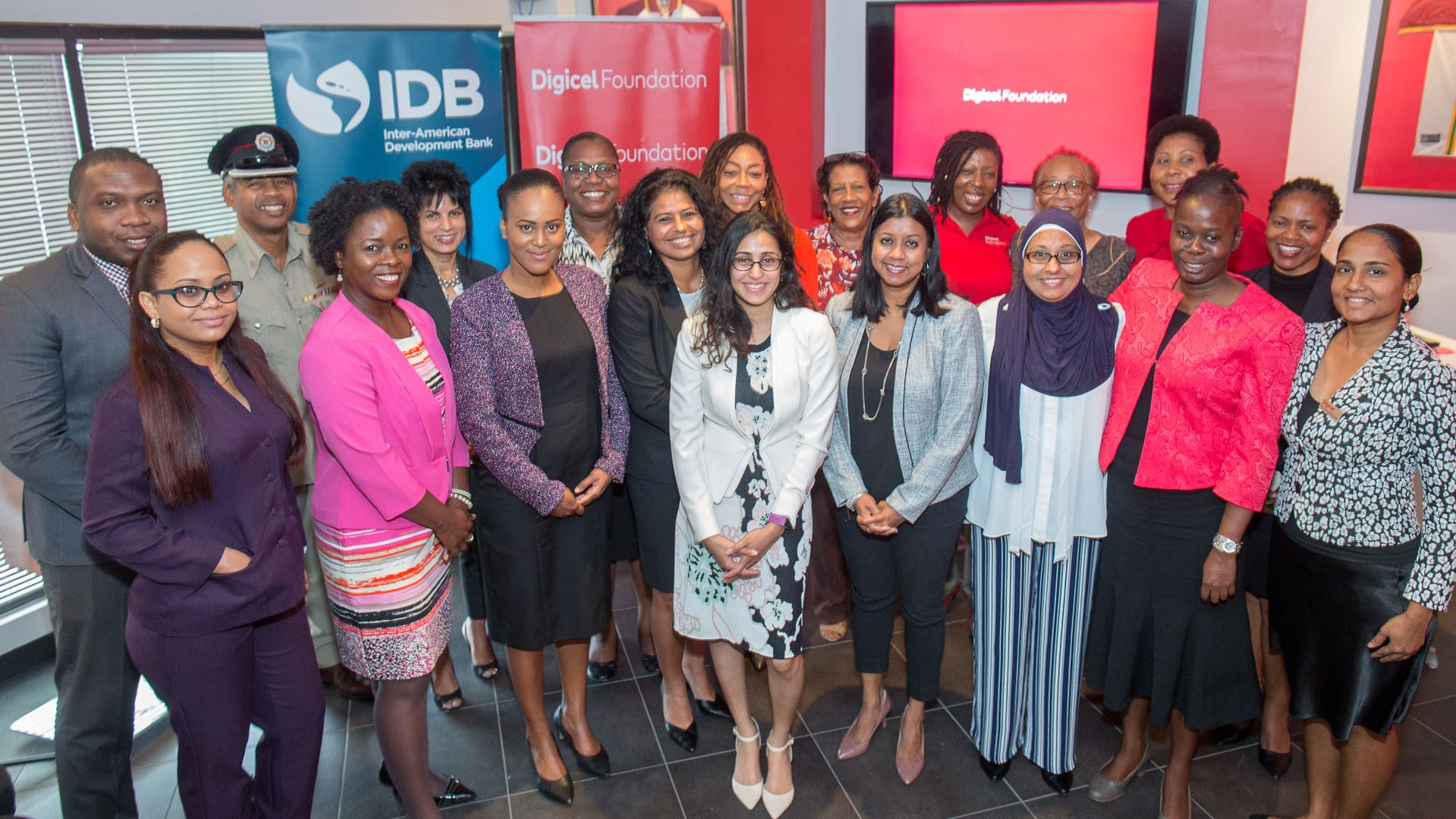 Digicel Foundation Chairman Desha Clifford (front row, 6th from left) with members of the Digicel Foundation and other attendees at the launch of the Preparing You! Year III