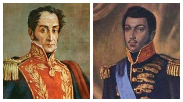 Simon Bolivar, libérateur du peuple vénézuélien et Alexandre Pétion, à dte, un des fondateurs de la patrie haïtienne.