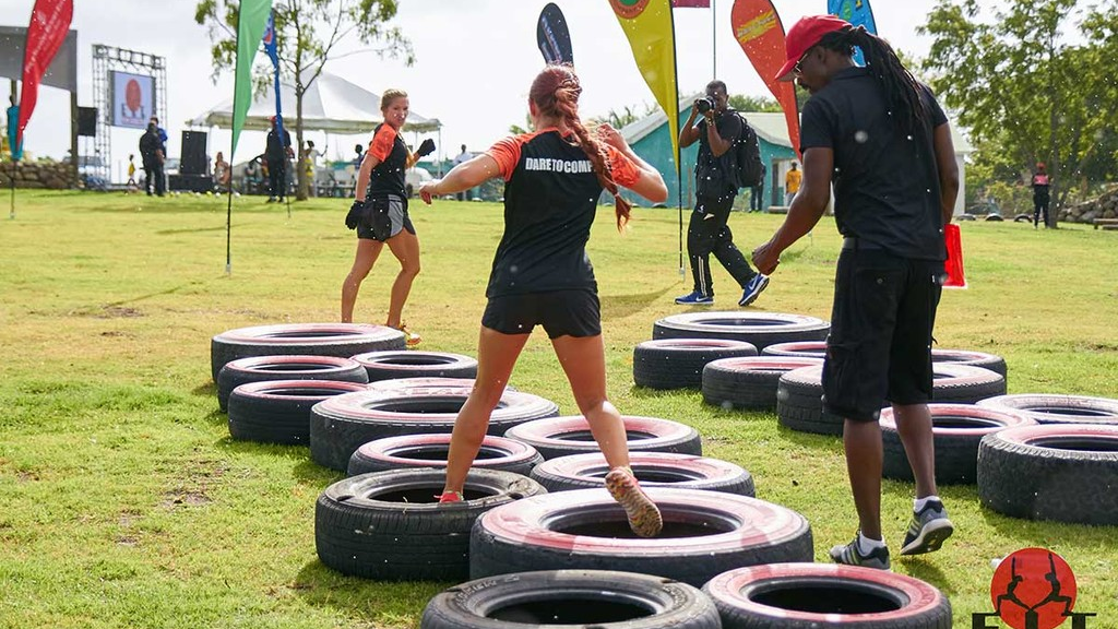 Participants taking part in the FIT Games, one of the events to get people of Nevis fit and healthy. Photo from FitNevis