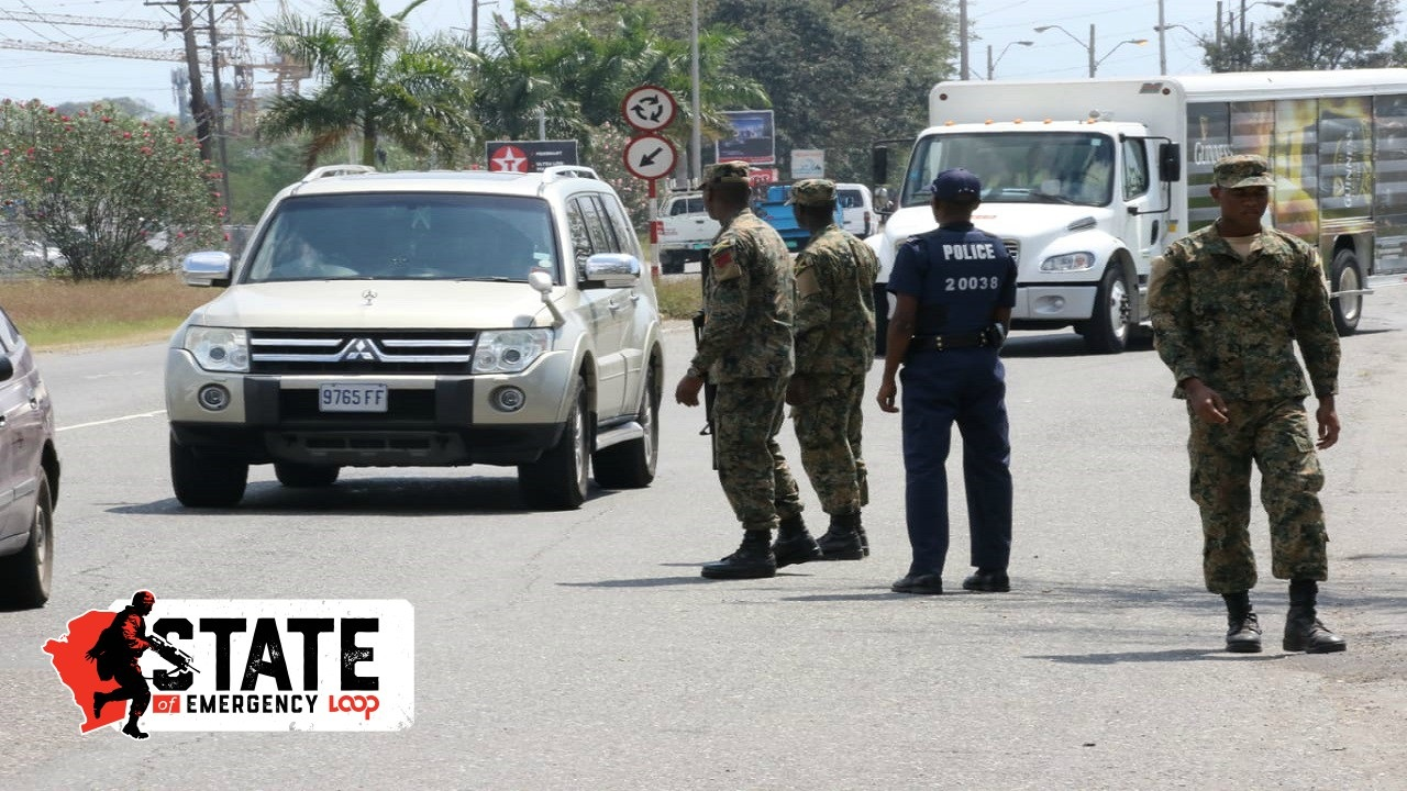 Members of the security forces at a checkpoint in Spanish Town, St Catherine during the state of emergency.