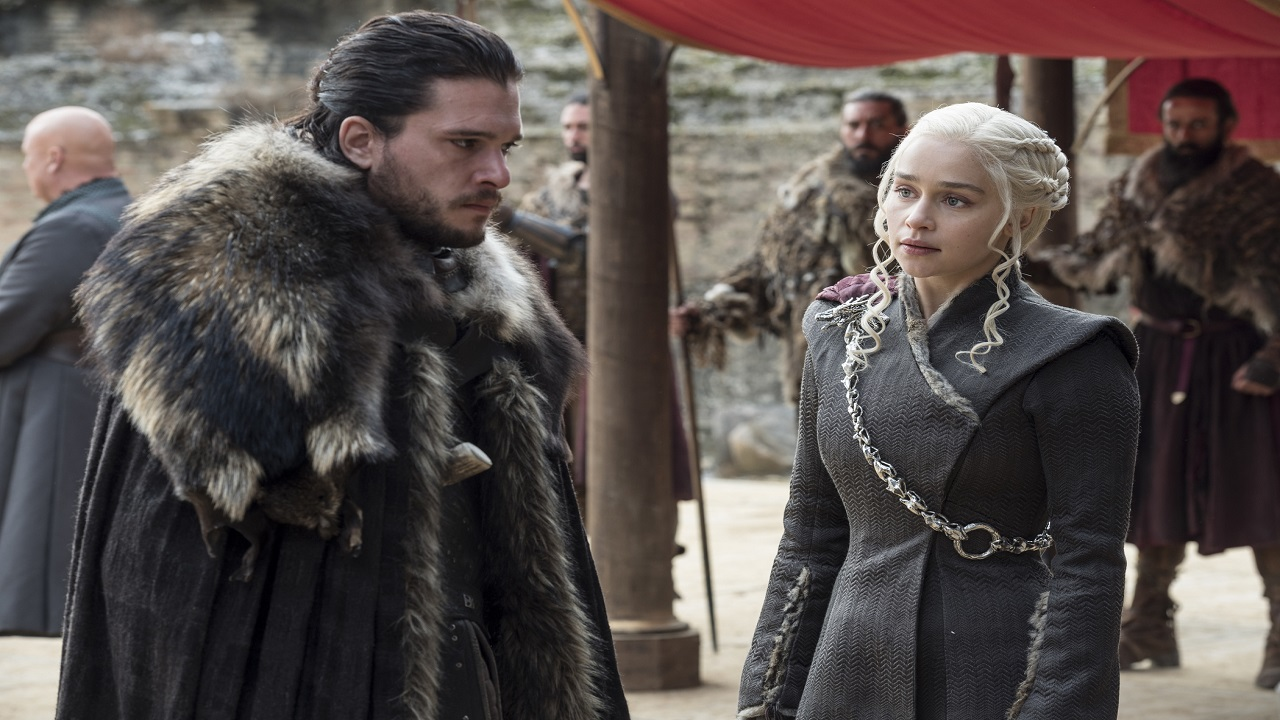 In this image released by HBO, Jon Snow (Kit Harington) is seen with Daenerys Targaryen (Emilia Clarke) in the season 7 finale of Game of Thrones.