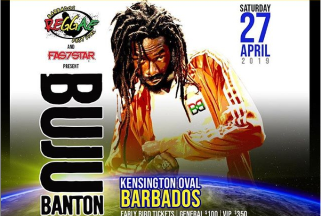 Buju Banton 'Long walk to Freedom' Tour flyer for Barbados.