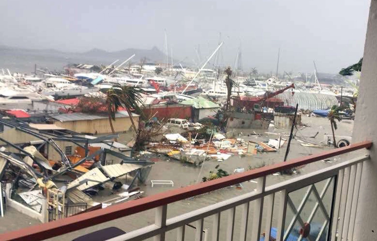 Photo: A ravaged harbour in St Maarten after the passage of Hurricane Irma in August 2017.