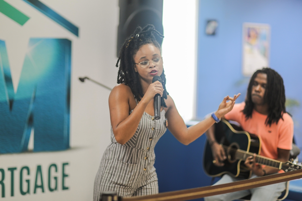 Lila Ike' entertains customers at the JN Bank Irie Wednesdays held in the institution's Half-Way-Tree branch in St Andrew recently.