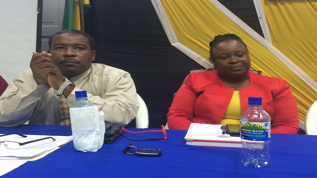 Chief public health inspector for St Catherine, Grayson Hutchinson (left) and chief entomologist in the ministry of health, Sherine Huntley Jones, at a dengue stakeholders meeting in Portmore on Thursday.