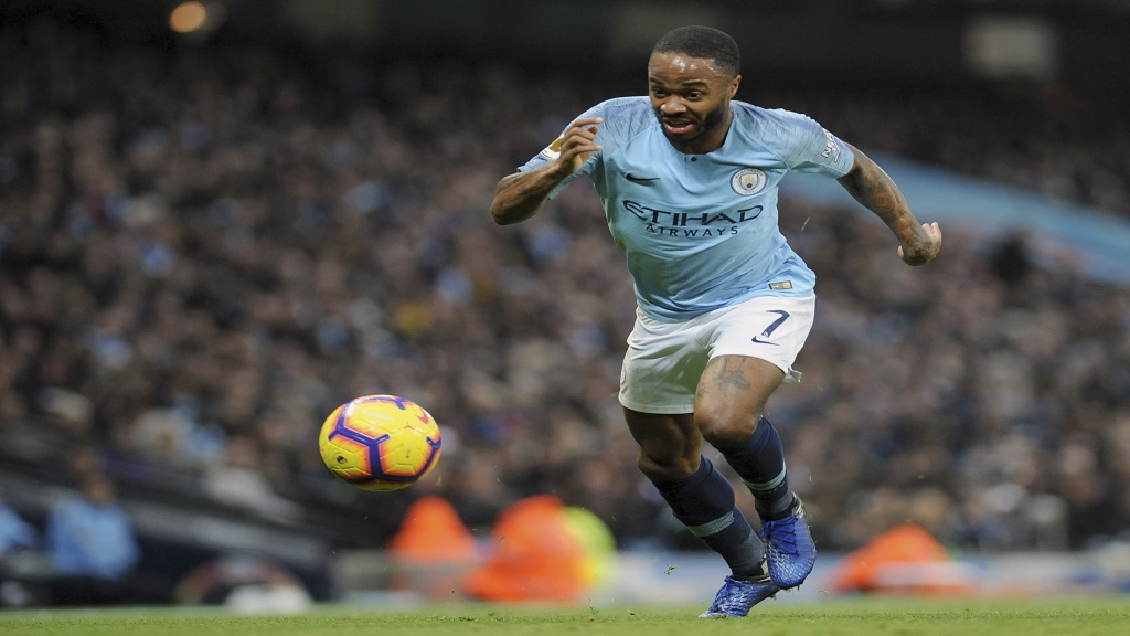 Manchester City's Raheem Sterling controls the ball during the English Premier League football match against Bournemouth at Etihad stadium in Manchester, England, Saturday, Dec. 1, 2018.