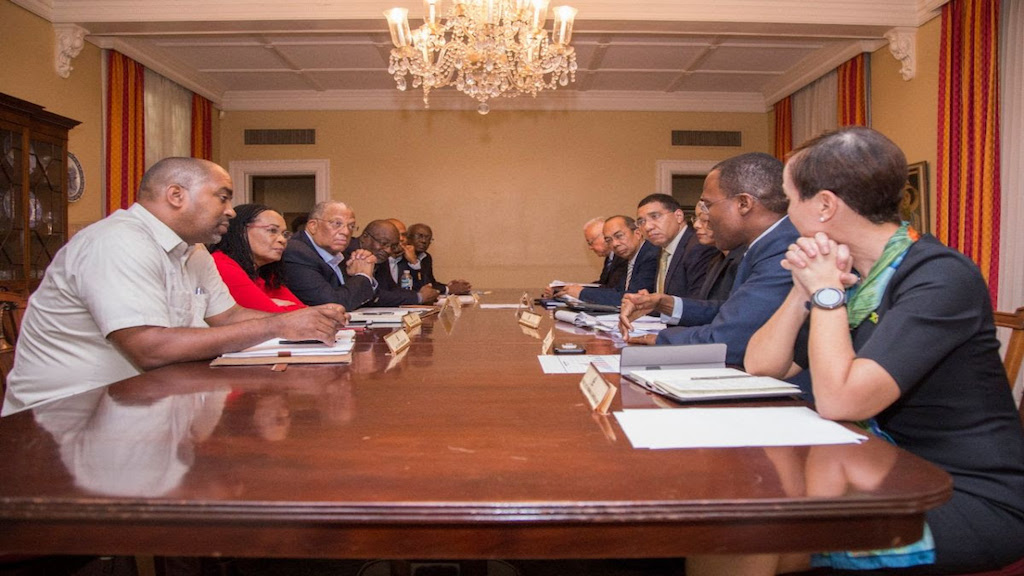 Government and Opposition members meet at Vale Royal last month. (PHOTOS: OPM)