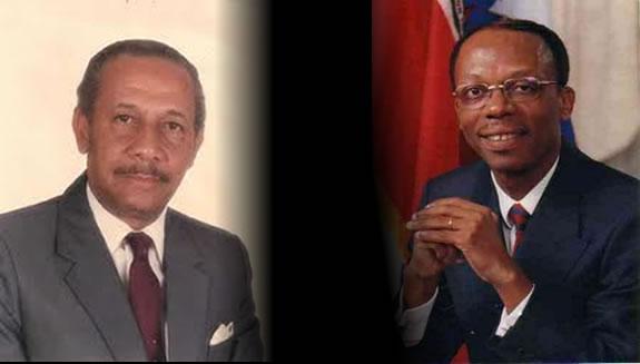 Droite: maître Gérard Gourgue/ Gauche: l'ancien Président Jean-Bertrand Aristide