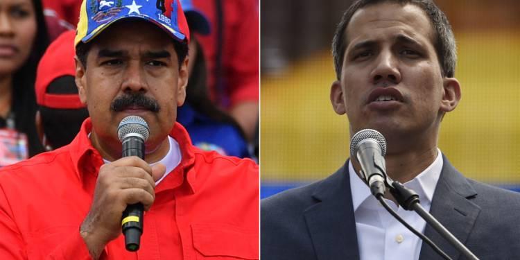 Collage/ Droite: Nicolas Maduro, gauche: Juan Guaido