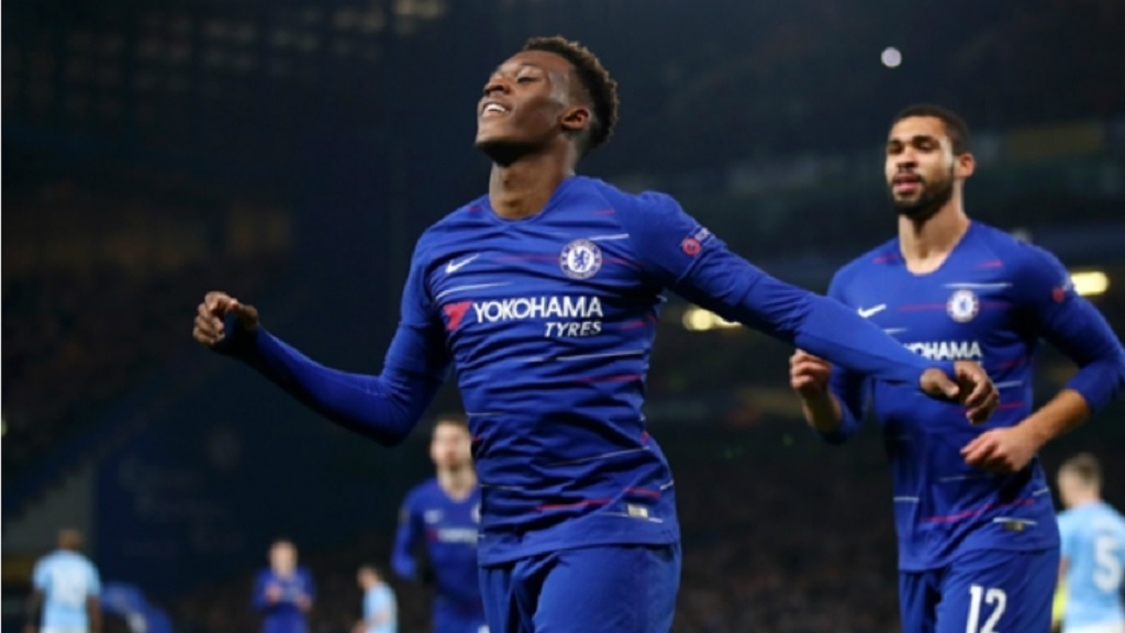 Callum Hudson-Odoi celebrates scoring for Chelsea.