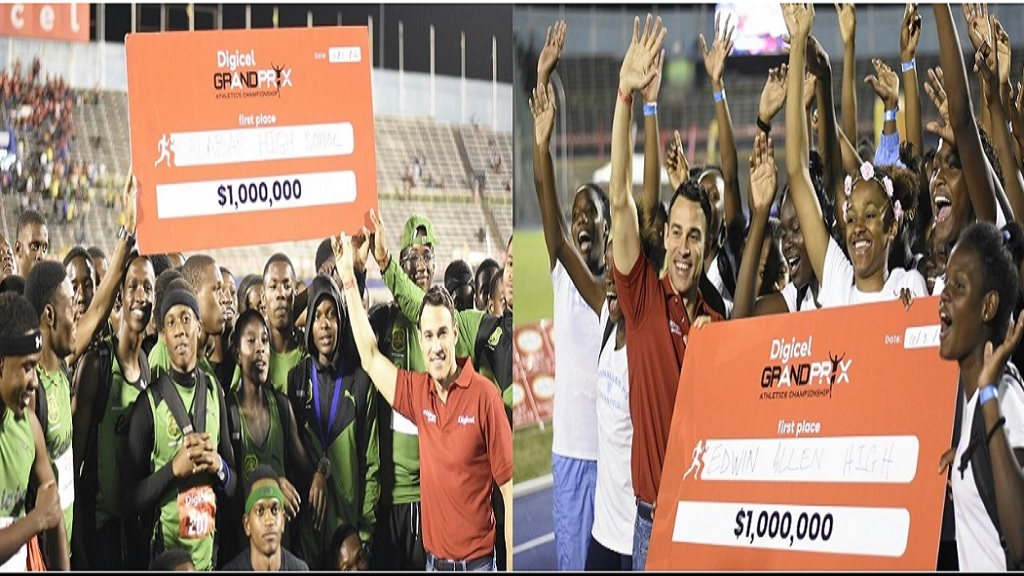 The combination of photos show Justin Morin, chief executive officer for Digicel Jamaica with athletes from Calabar (left) and Edwin Allen, displaying their cheques, after the schools won the fourth staging of the Digicel Grand Prix Athletics Championship in 2018 at the National Stadium.