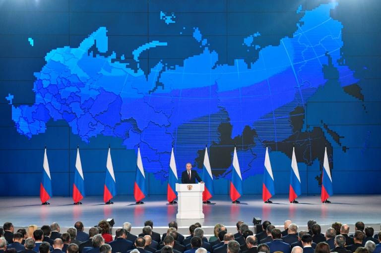 Le président russe Vladimir Poutine lors de son discours annuel devant le Parlement, le 20 février 2019