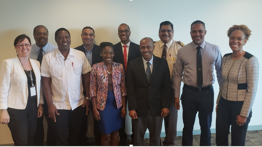 Ms. Camille Campbell, CEO Tourism Trinidad (right) standing next to representatives of the Airport's Authority, Customs and Excise, SwissPort, Airport Taxi Association  and Immigration, following Tourism Trinidad's stakeholder engagement meeting of January 14, 2019. Left is Ms. Heidi Alert, Destination Development Manager, Tourism Trinidad.