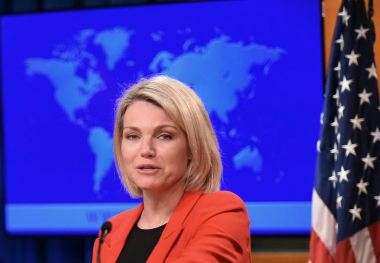 La porte-parole du département d'Etat Heather Nauert lors d'une conférence de presse le 30 novembre 2017 à Washington DC
