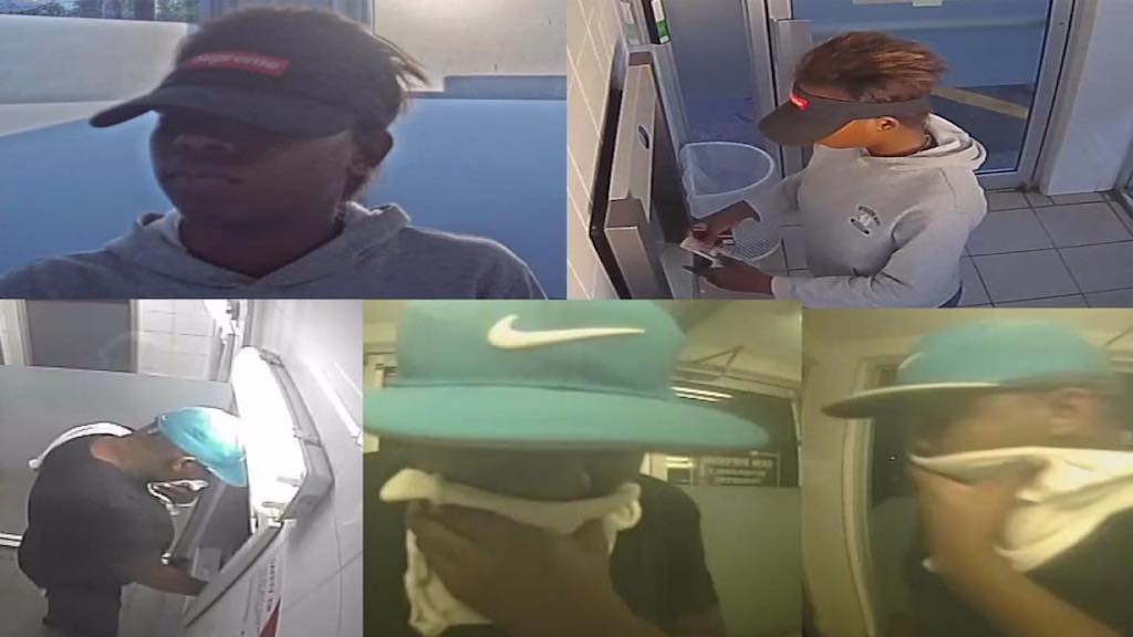 Photographs released by the police on Tuesday showing a man and a woman inside an ATM. Both individuals are said to be persons of interest in an ongoing murder investigation.
