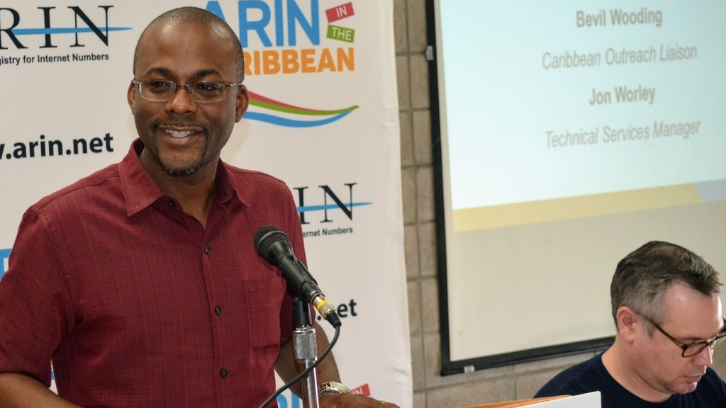 Left to right, Bevil Wooding, Caribbean Outreach Liaison, American Registry for Internet Numbers, and Jon Worley, Technical Services Manager, American Registry for Internet Numbers at the launch of the registry's Caribbean Forum in Grenada on February 6, 2018.