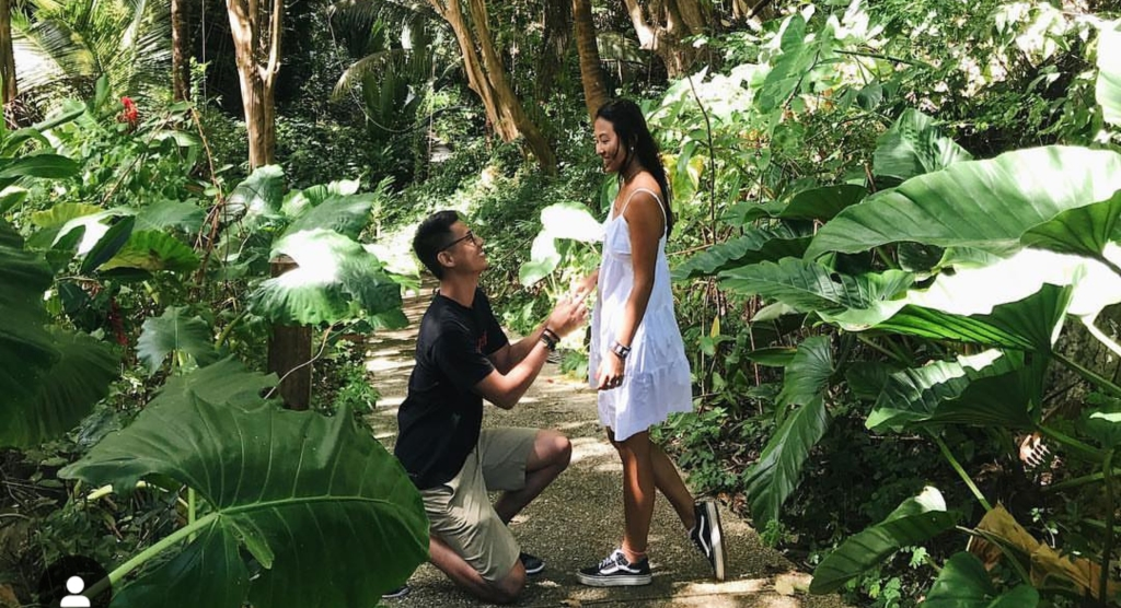 Wedding proposal at Harrison's Cave.