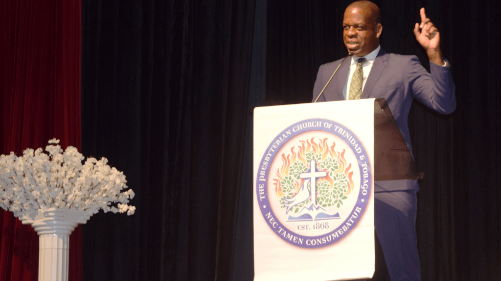 Minister of State in the Ministry of Education Dr Lovell Francis addresses the Presbyterian Primary Schools' Board of Education Teachers Convention at the Southern Academy for the Performing Arts (SAPA), San Fernando, last Friday. Photo courtesy the Ministry of Education.