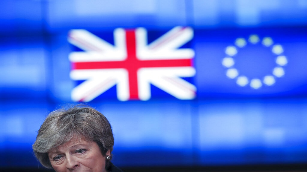 Britain's Prime Minister Theresa May talks to journalists after her meeting with European Council President Donald Tusk at the European Council headquarters in Brussels last week. (AP Photo)