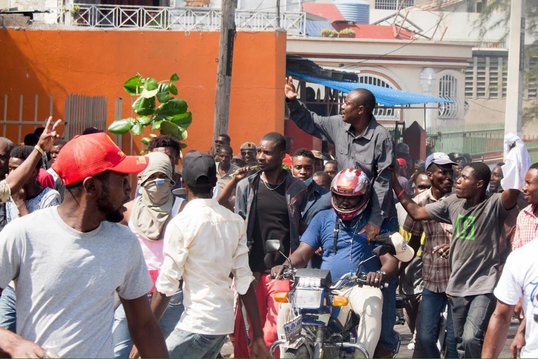 Moïse Jean-Charles à la manifestation du 7 février 2019/ Photo: Ralph Andy Almonord