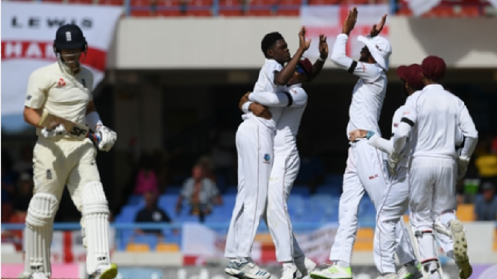 Alzarri Joseph celebrates dismissing Joe Denly.