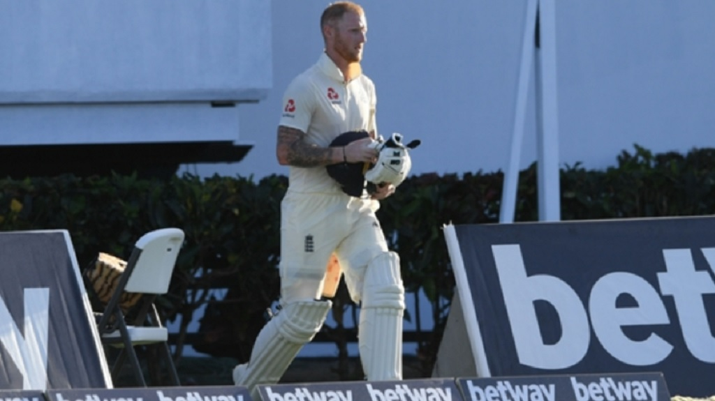 Ben Stokes returns after being dismissed off a no-ball.