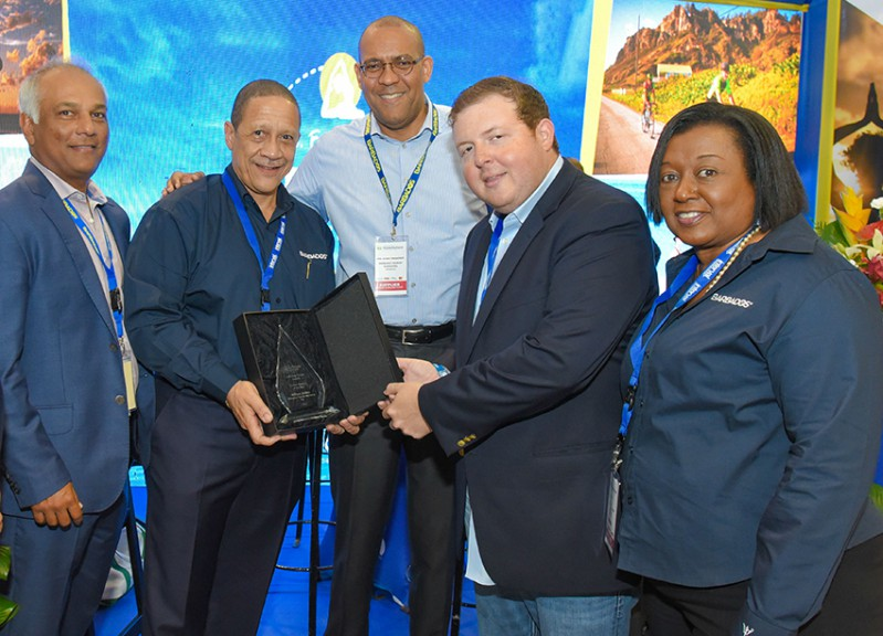 BTMI Chairman, Sunil Chatrani; BTMI CEO, William 'Billy' Griffith; Minister of Tourism and International Transport, Kerrie Symmonds; Founder of Caribbean Journal, Alexander Britell; and Permanent Secretary in the Ministry of Tourism and International Transport, Donna Cadogan. (BTMI)