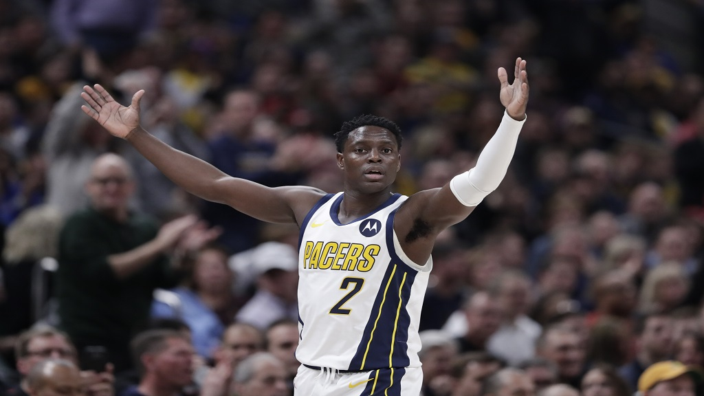 Indiana Pacers guard Darren  Collison celebrates during the first half of an NBA  game against the Los Angeles Lakers in Indianapolis, Tuesday, Feb. 5, 2019.