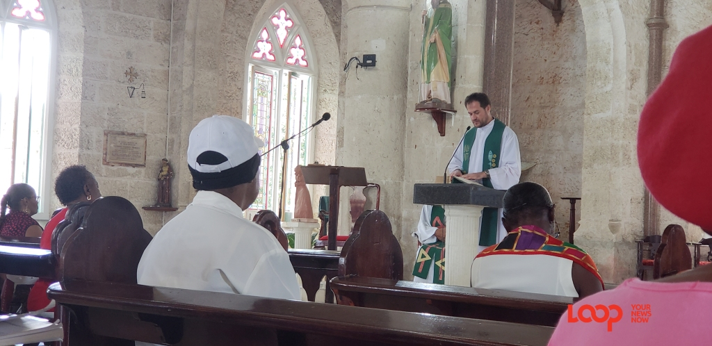 Father Andrew Rosiak delivering his sermon on the first Friday for February and to start the Weekend of Prayer in Barbados.