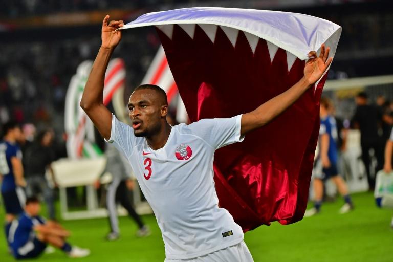 Les Qataris fêtent leur victoire en finale de la Coupe d'Asie, le 1er février 2019 à Abou Dhabi