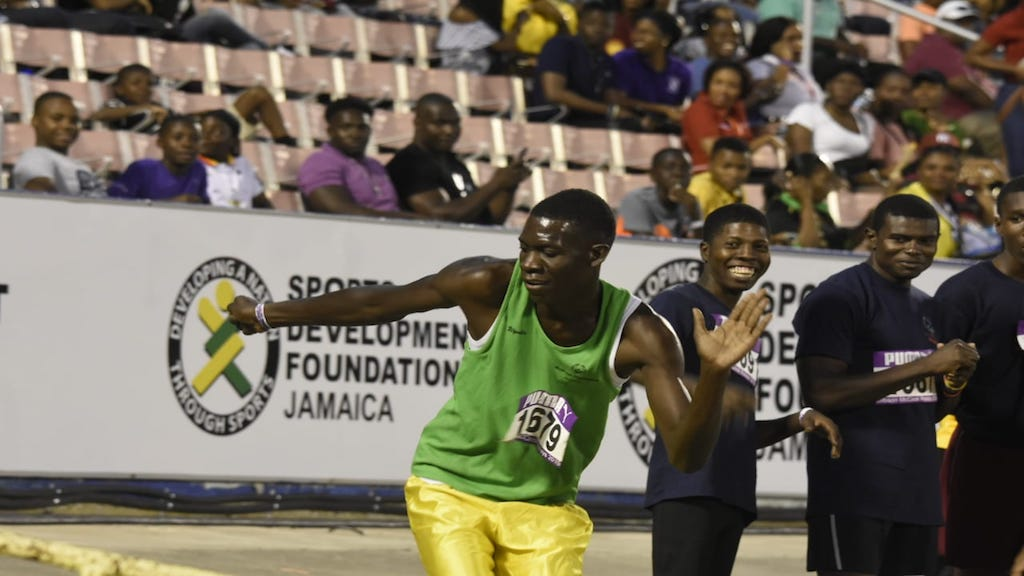 Special Olympics Jamaica athlete Raje Patterson dances to Ding Dong's 'Shoulda Fi A Fling' at the Gibson McCook Relays at the National Stadium in Kingston on Saturday. (PHOTO: Marlon Reid)