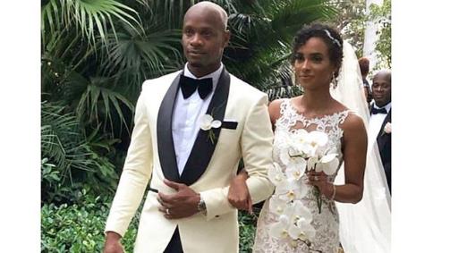 Asafa Powell and his bride, Alyshia Miller.