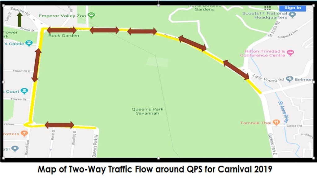 Map showing traffic arrangements around the Queen's Park Savannah, courtesy the Trinidad and Tobago Police Service (TTPS).