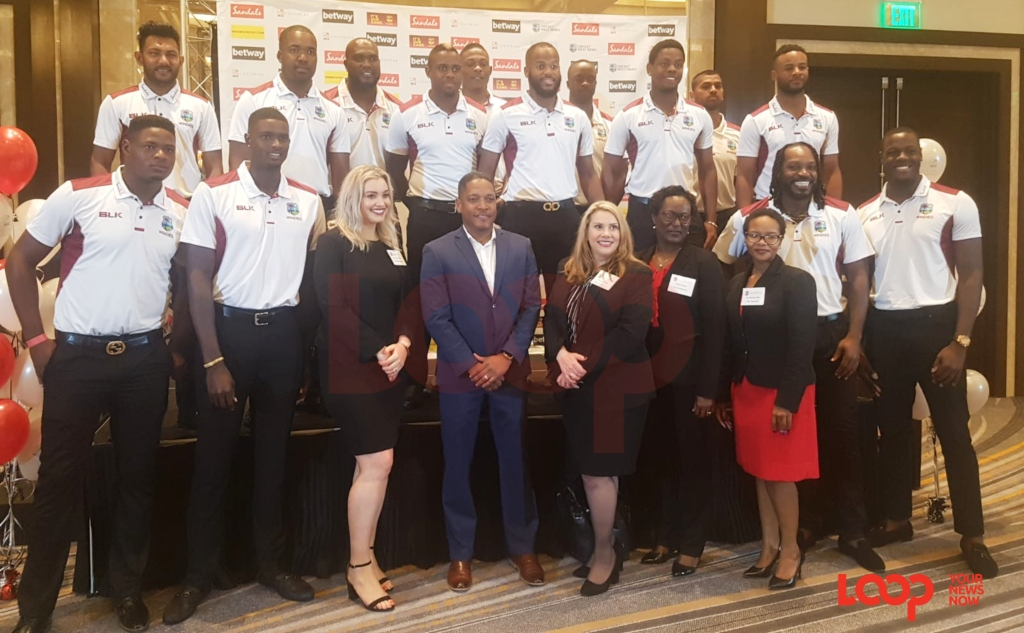 CGI and West Indies ODI players at Sandals Resorts (Barbados) where the announcement was made. (PHOTO: AMN)