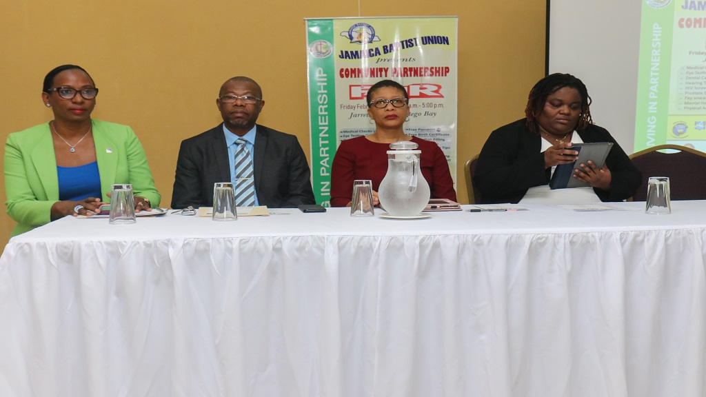 From left: Joy Clark, Rev Everton Jackson, Rev Merlyn Hyde-Riley and Adenike Stephenson at the Baptist General Assembly launch in Montego Bay on Tuesday.
