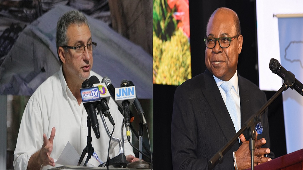 The Ministry of Tourism was this week forced to go on the defensive after it and the government, were recently blasted by the Jamaica Manufacturers and Exporters Association (JMEA), over the decision to use imported memorabilia to promote brand Jamaica at a tourism conference. Pictured left is JMEA President Metry Seaga, Tourism Minister Edmund Bartlett (right)