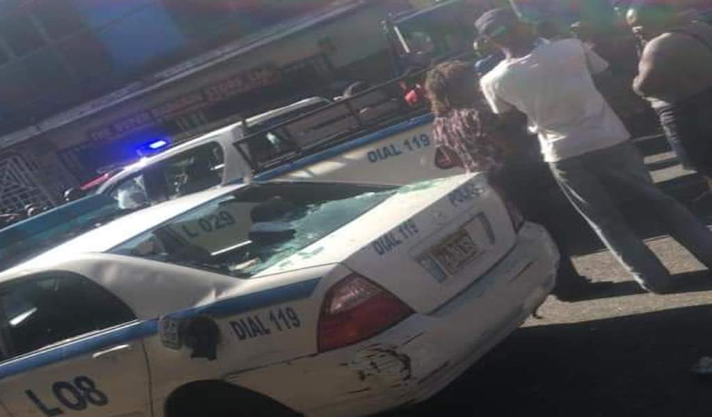 The damaged police service vehicle in Spalding, Clarendon where a cab driver was reportedly shot by a policeman on Tuesday morning.