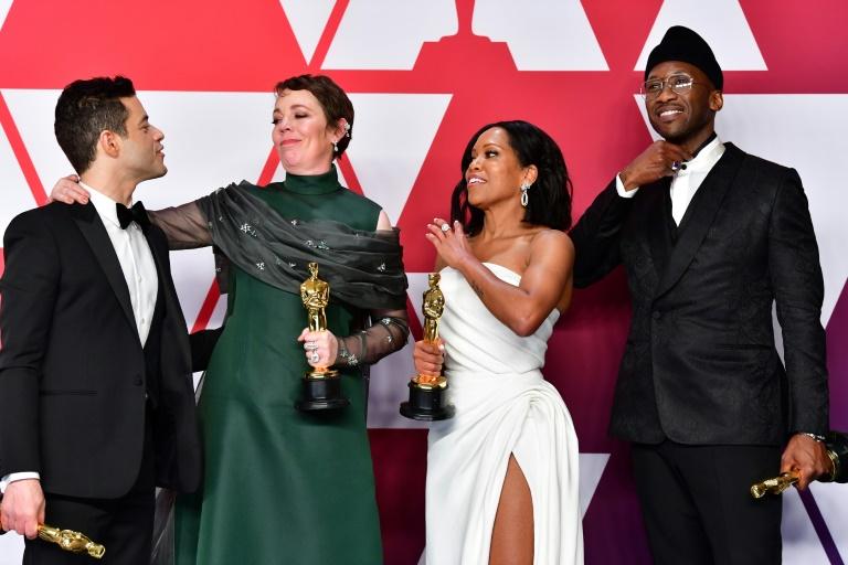 """L'équipe de """"Green Book"""" vient recevoir sur scène l'Oscar du """"meilleur film"""", le 24 février 2019 à Hollywood"""