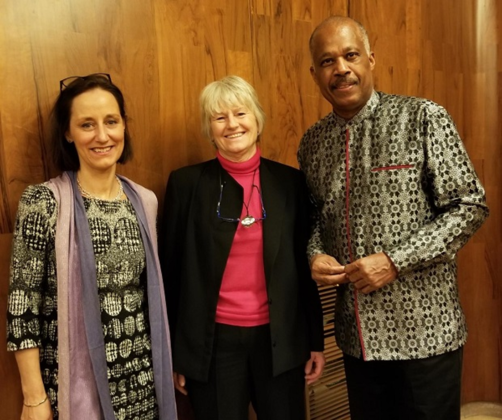 L-R: Dr Hilligje van't Land, Secretary General of the IAU, Professor Pam Fredmam, President of the IAU and Vice-Chancellor of The UWI, Professor Sir Hilary Beckles at UNESCO's Headquarters on January 30, 2019.