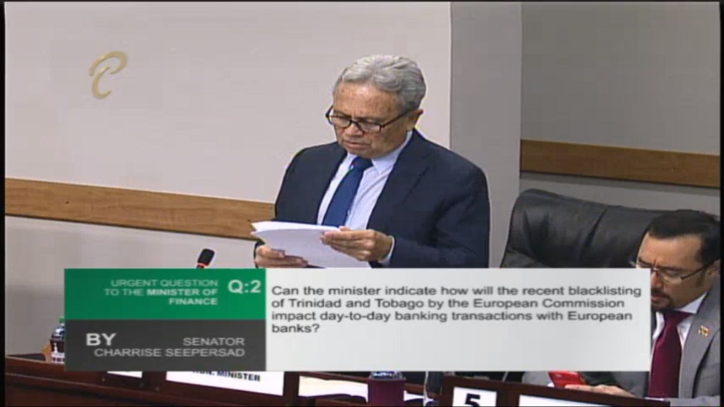 Photo: Finance Minister Colm Imbert discusses recent blacklisting by the European Commission for being a haven for money laundering and terror financing.